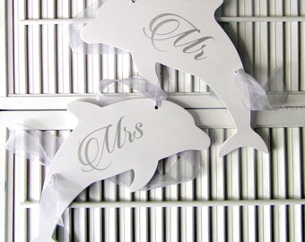 Free Shipping Beach Fish Mr and Mrs Bride and Groom Dolphin. Chair Signs for Wedding. Florida or Tropical Destination