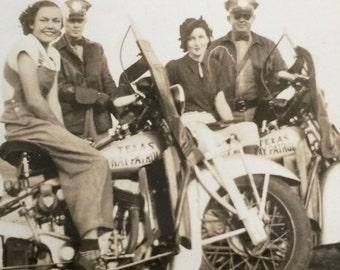 Texas Highway Patrol Motorcycle Cops Vintage Photo