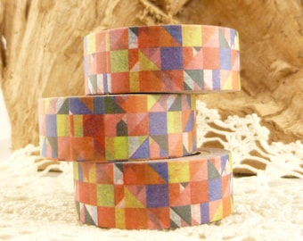 Stylized, Abstract, Squares and Rectangle Tiles Washi Tape - LL953