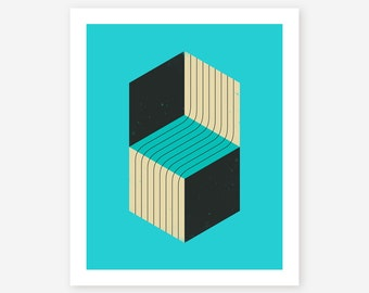 Abstract Geometric Wall Art, Giclee Fine Art Print for the home decor by Jazzberry Blue, 'CUBES (7)'