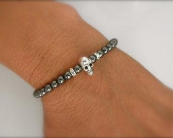 Tiny skull bracelet with hematite beads