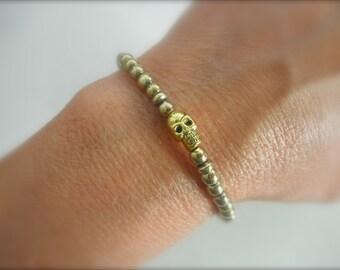 Tiny skull bracelet with gold beads - adjustable skull bracelet - gold beaded bracelet - pewter skull bracelet -