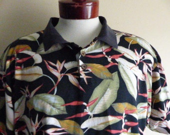 aloha vintage 90's Cooke Street black hawaiian polo shirt tropical floral bird of paradise green red yellow leaf print short sleeve large