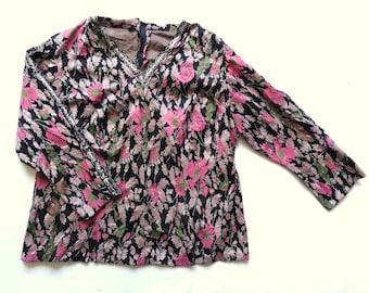 Vintage 70's Metallic / Floral Top UK 16