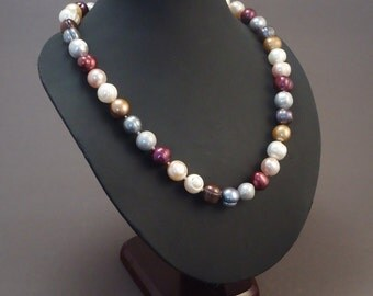 Classic multi color freshwater pearl necklace