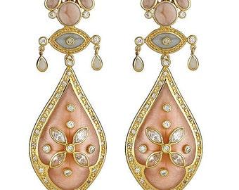 Art Deco pink Cristina Sabatini enamel and cubic zirconia earrings