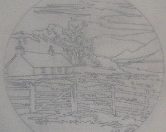 Brackenwood Farmhouse Landscape Tapestry Needlepoint Canvas C151