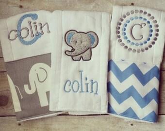 Personalized baby boyburp cloths - baby blue elephant