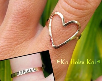 Heart Ring, Stamped Custom Heart Ring, Stamped band