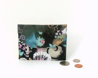 Black butterfly wallet, snap closure wallet, butterfly coin purse, zipper coin purse, black cardholder, black and pastel wallet