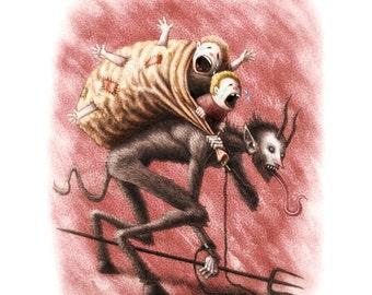 Krampus, Christmas Devil Signed Giclee, Digital Illustration