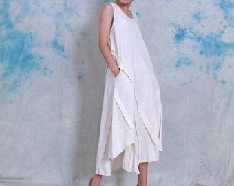 cotton dress linen dress vest dress linen vest dress long dress summer dress irregular dress