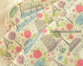 Two Layers Cotton Gauze Fabric, Birds Floral Eiffel Soft Cotton For Baby Kids - 1/2 yard