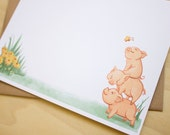 Pig Tower Stationery - 6 Flat Note Cards with Envelopes and Stickers (Set)