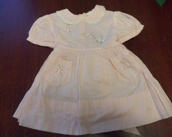 Vintage Pink Babies Dress with Petite Embroidery, Cotton Size 1 Baby Dress    (T)