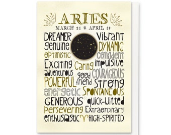Zodiac Greeting Card - Astrological Sign, Constellation - Aries - Typography Art
