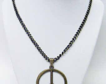 Large Bronze Peace Sign Symbol Pendant Necklace
