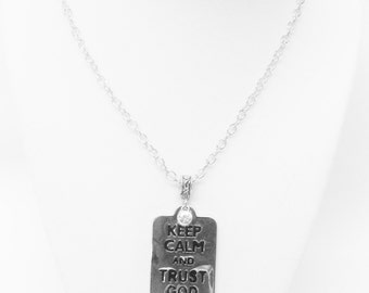 Keep Calm and Trust GOD Silver Plated Pendant Necklace