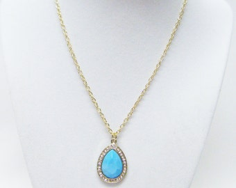Blue Turquoise Teardrop on Gold w/Rhinestone Charm Necklace