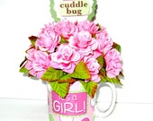 Pink baby shower gift arrangement/ Baby girl mug bouquet/ Small rose floral centerpiece/ It's A Girl gift mug/ New baby celebration (BG27)