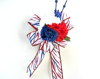 Memorial Day gift bow, Veteran's Day decoration, Holiday gift wrap bow, Tiger stripe glittered patriotic bow, Red white and blue bow (J62)