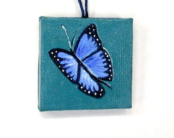 Miniature Canvas Art, Blue Butterfly Painting, Hostess Gift, Bottle Decor, Miniature Butterfly