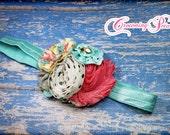 M2M Giggle Moon Spring 2015, Singing Praises Headband, Pink, Ivory, Turquoise Headband, Grey, Aqua, Coral Hair Piece, Hair Accessory, Clip