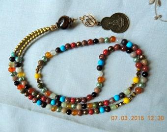 Seven Chakra Long Mala /108 bead full  Mala Necklace / Bracelet / Healing stones/ Yoga Prayer Beads- Buddhist Jewelry
