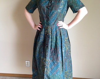50s Green Blue Batik Paisley Cotton Shirt Waist Day Dress