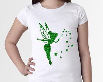 Tinkerbell & Pixie Dust Green Glitter - Girl's/Youth Disneyland/Disney World White Shirt sz XS, S, M, L, XL