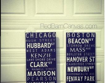 Personalized Subway Transit Sign, 16x40 mounted canvas, New York City, Boston, Chicago, Kansas City, Dallas, Austin, Atlanta, Vintage style