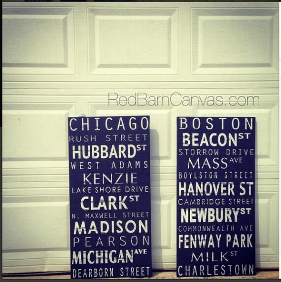 Personalized Subway Canvas, New York City, Boston, Chicago, Kansas City, Austin, Atlanta, Subway sign, Vintage style