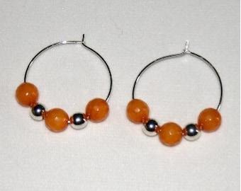 Medium Hoop Jade Earrings