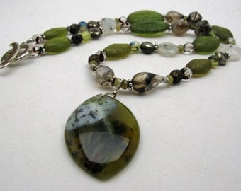 Moss Necklace - woodland - greens - opal quartz garnet pyrite