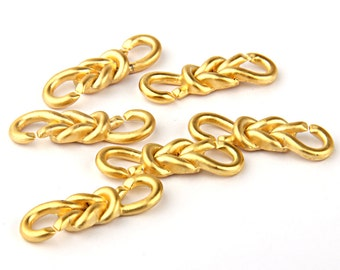 Gold Knot Bracelet/Necklace Connector, Gold Plated, 6 pieces // GC-364