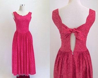 Vintage Laura Ashley Dress - Fuchsia Pink Sun Dress - 80's Floral Summer Dress