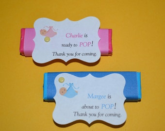 25 Personalzed Baby Boy or Gir Shower Bubble Gum Favors
