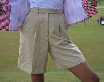 Talbots Shorts, Size 4, High Waisted Tan Shorts, NOS Khaki Shorts, Vintage Women's Dress Shorts, Ladies' High Waisted Shorts, Pleated Shorts