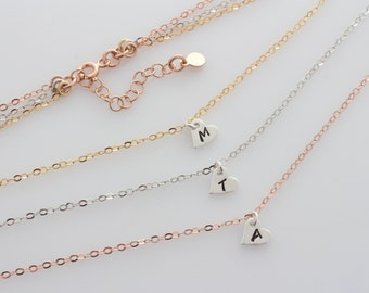 Three Tones Necklace. Sterling silver Hearts with Initials Necklace, Monogram Necklace, Choose initial. Rose Gold, Gold over Sterling Silver