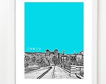Owego Art Poster - Owego NY - Owego City Skyline Art Print - Moving Gift