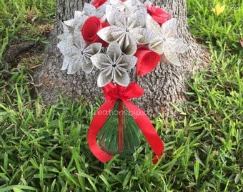 LOVE STORY- Paper Flower Bouquet / Paper Bridal Bouquet, Kusudama, Origami Bouquet, Wedding Bouquet, Bridal Bouquet, Bridesmaid Bouquet