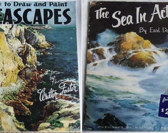 Vintage Art Books - Painting Books, How to Draw and Paint Seascapes 9, Walter T. Foster, 1987, The Sea in Action 83, Undated, Earl Daniels