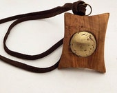 Black Friday Sale. 45% discount! Olivewood Pendant with Brass