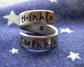 twinkle twinkle little star   aluminum ring swirl style  1/4 inch