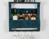 The Original wine rack - shabby chic turquoise -