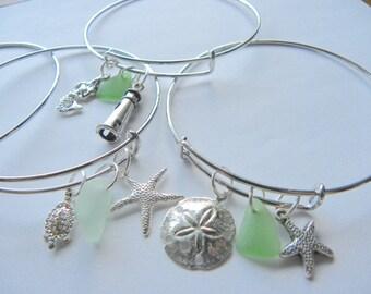 Sea glass charm bracelets, nautical charms, sea-themed charms, beach charms, silver charm bracelet