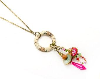 Textile Charm Pendant Necklace - Long fabric pendant necklace - gift idea