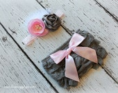 Grey & Pink Lace Baby Bloomers with Headband Set - Your Choice: DIY or Finished Headband - Gorgeous Baby Photography Prop Set