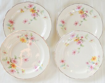 Antique Cottage Style Bread and Butter Plates, Set of 4, French Country, Shabby Chic, Canonsburg, Tea Party, Cottage Chic, Ca. 1940's