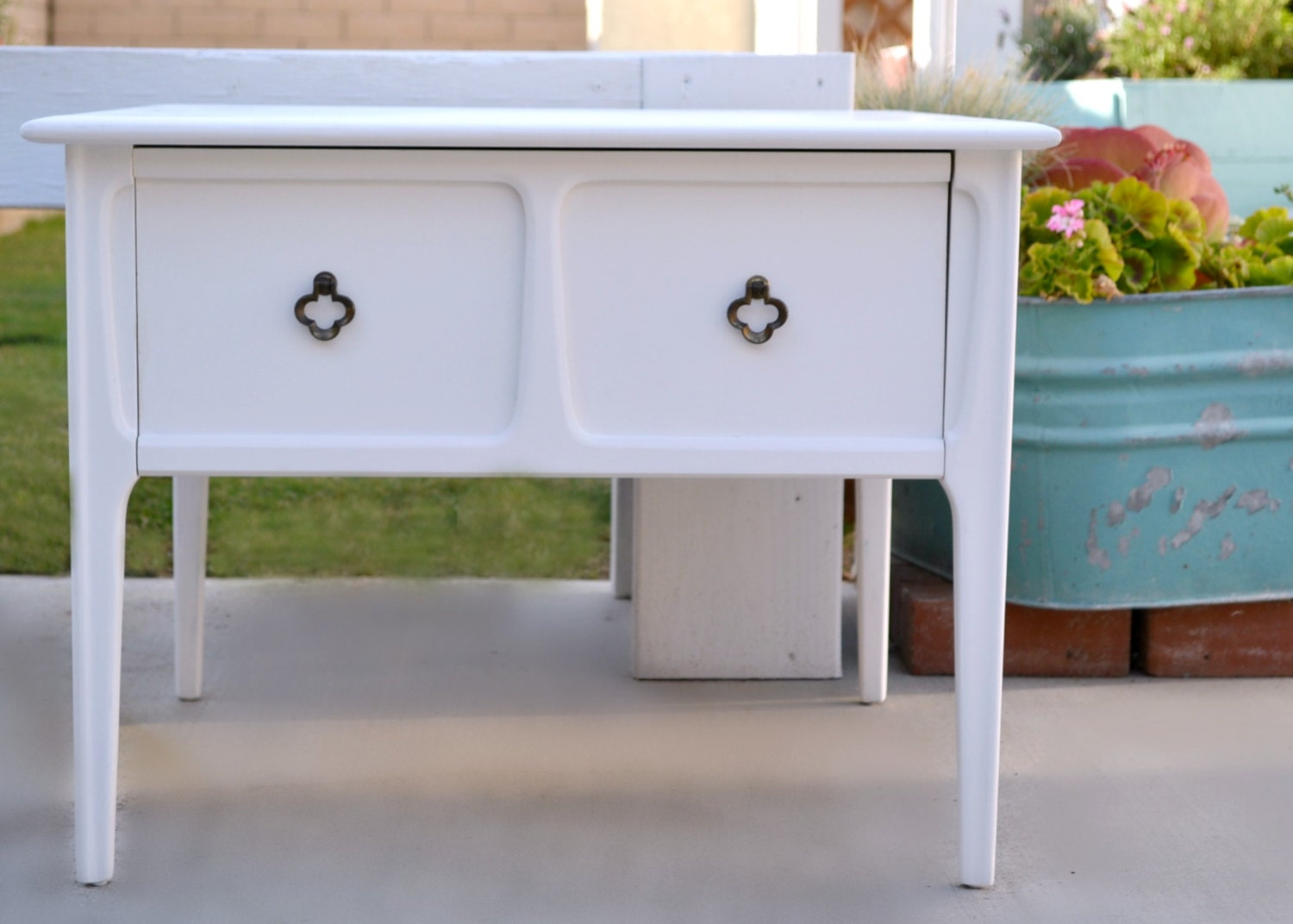 Mersman 29 22 Mid Century Modern Walnut Side Table End Table One Large Drawer Painted White Haute Juice